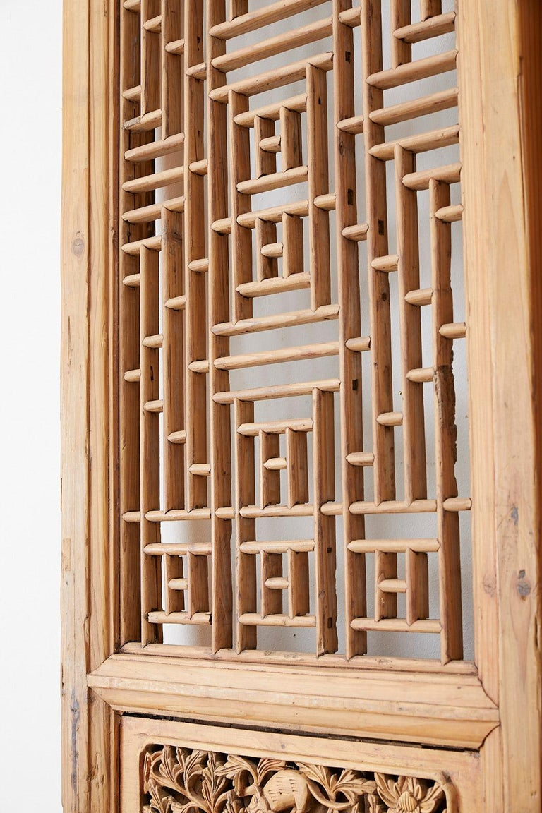 Pair of Chinese Carved Doors with Lattice Windows For Sale 1