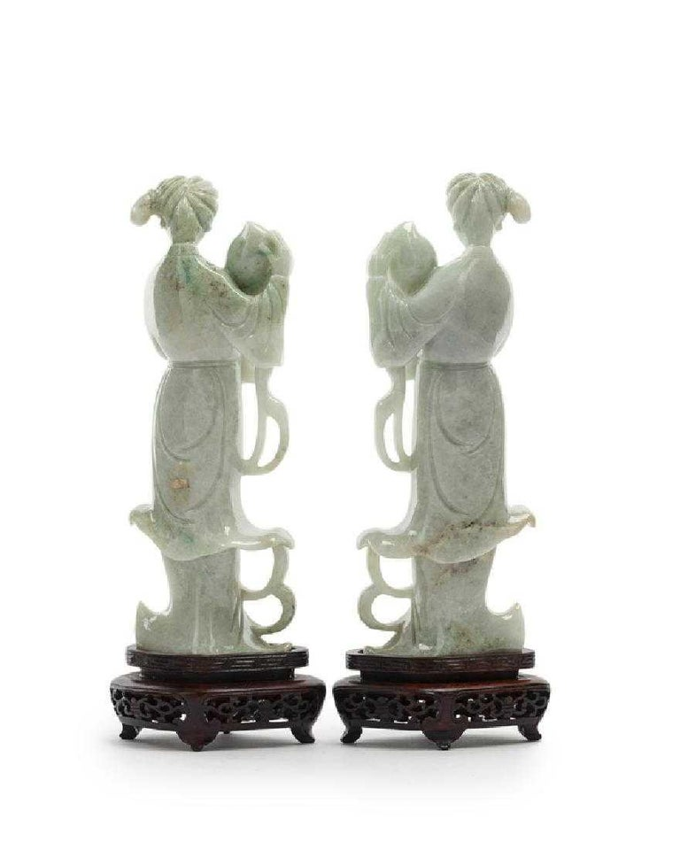 Hand-Carved Pair of Chinese Carved Jade Maidens For Sale