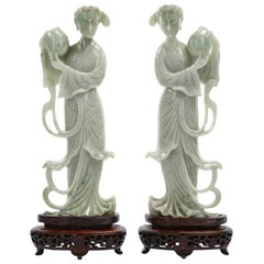 Pair of Chinese Carved Jade Maidens