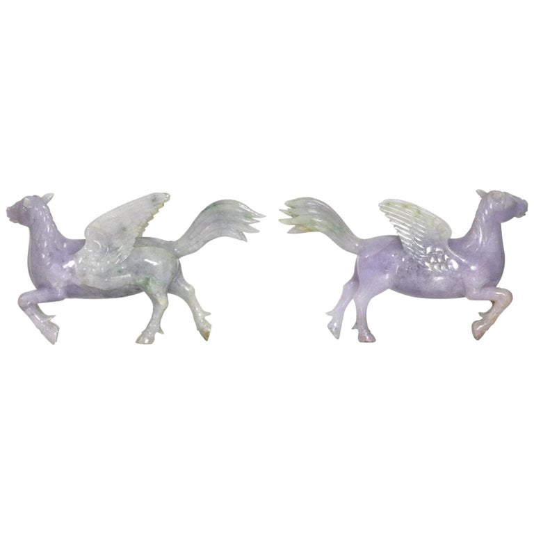 Pair of Chinese Carved Jade Winged Horses For Sale