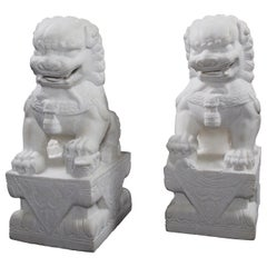 Pair of Chinese Carved Marble Foo Dogs