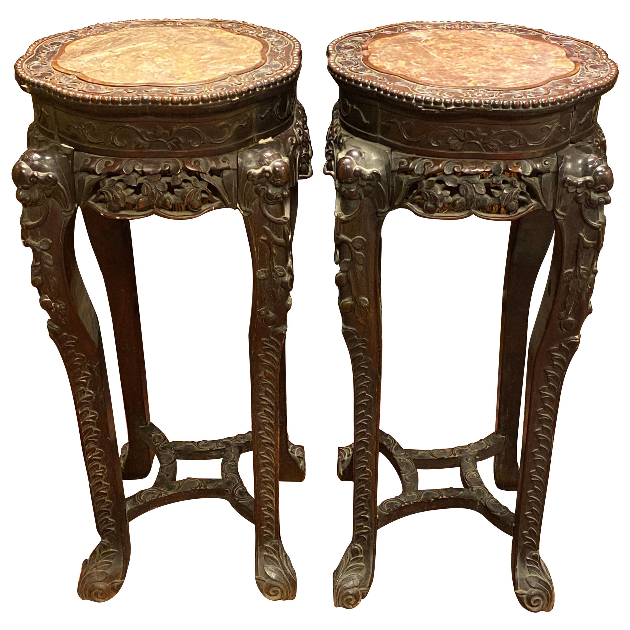 Pair of Chinese Carved Teak Wood and Marble Pedestals