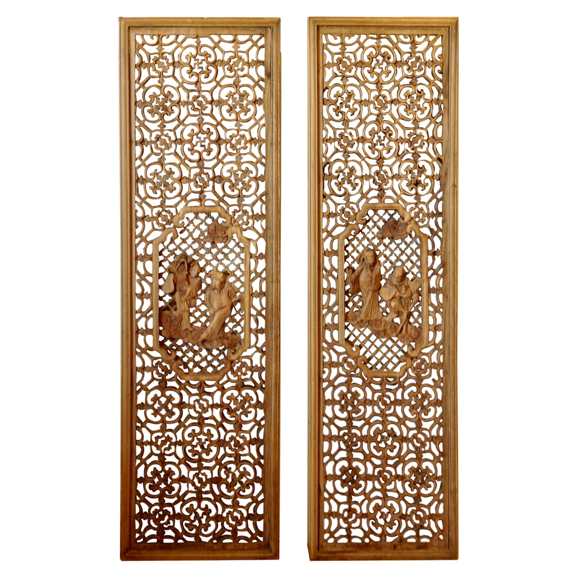 Pair of Chinese Carved Wall Panels