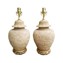 Pair of Chinese Carved Wood Lamps with Gilded Bases, circa 1880-1920