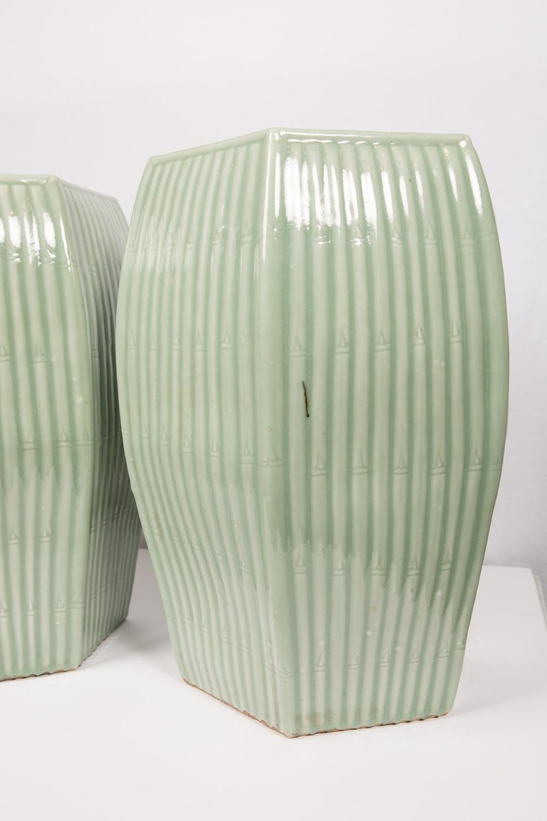 Pair of Chinese Celadon Garden Seats  For Sale 4