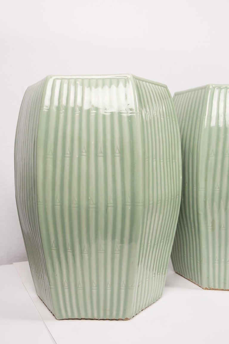 Pair of Chinese Celadon Garden Seats  For Sale 5
