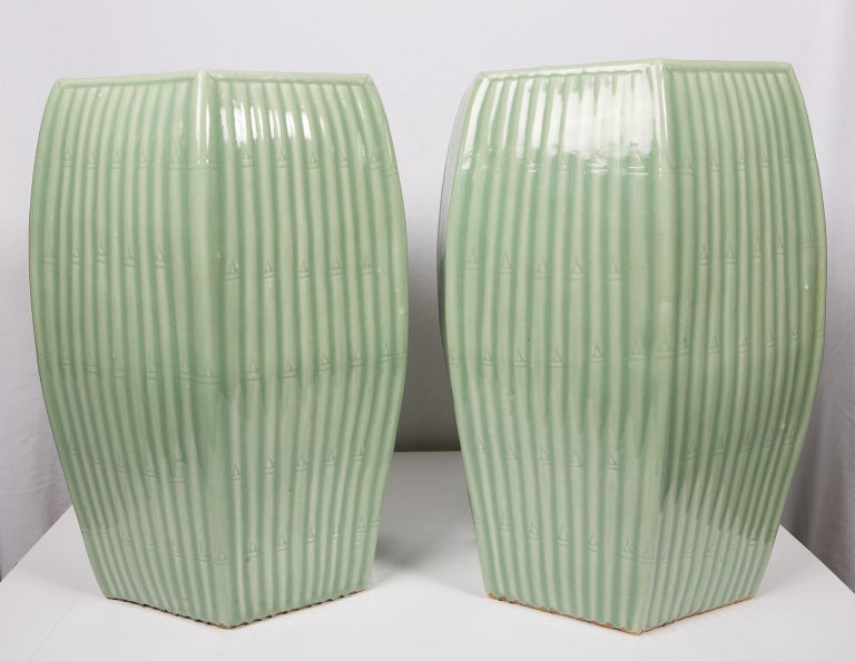 WHY WE LOVE IT: The shape! The color! We are delighted to offer this pair of Chinese celadon garden seats. These sleek hexagonal garden seats are covered in a light green glaze with a jade-like luster. The soft celadon color evokes the liveliness of