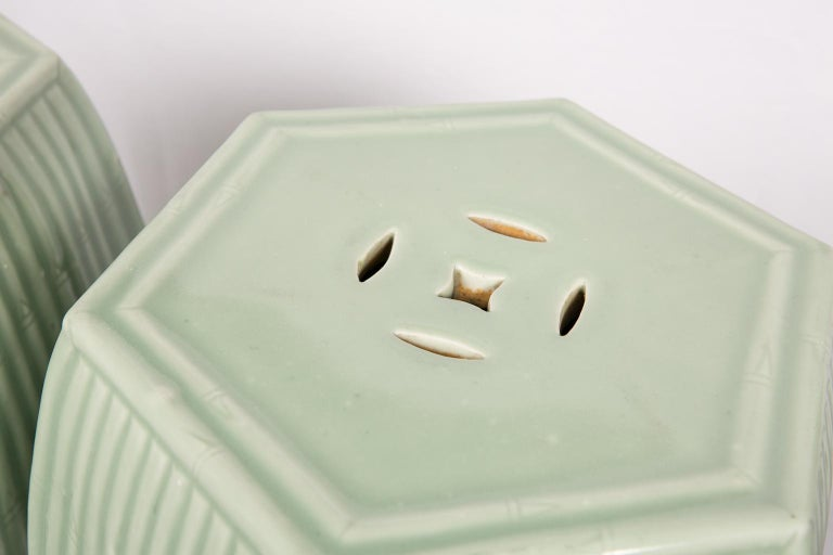 Pair of Chinese Celadon Garden Seats  For Sale 2