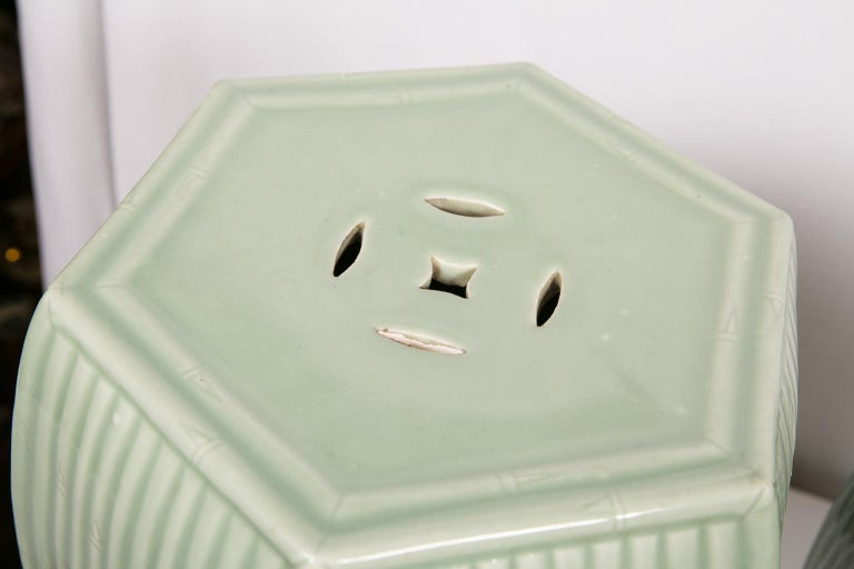 Pair of Chinese Celadon Garden Seats  For Sale 3