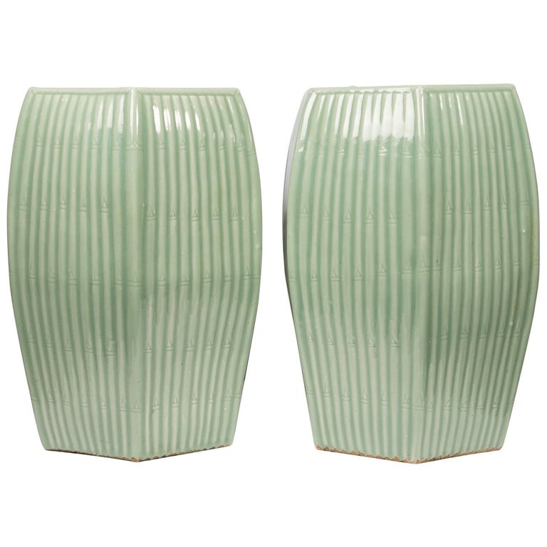 Pair of Chinese Celadon Garden Seats  For Sale