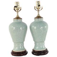 Pair of Chinese Celadon Porcelain Tonal Dragon Motif Table Lamps