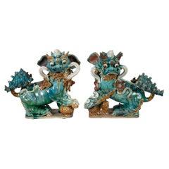 Pair of Chinese Ceramic Buddhistic Lions