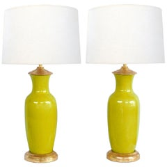 Pair of Chinese Chartreuse-Yellow Crackle-Glaze Ceramic Lamps