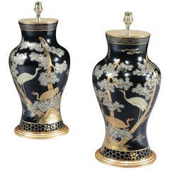Pair of Chinese Chinoiserie Gold and Black Lacquered Table Lamps