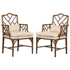 Pair of Chinese Chippendale Faux Bamboo Chairs, 1960s