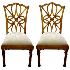 Pair of Chinese Chippendale or Chinoiserie Style Giltwood Chairs