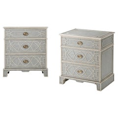 Pair of Chinese Chippendale Painted Nightstands