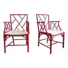 Pair of Chinese Chippendale Red Painted Cockpen Armchairs