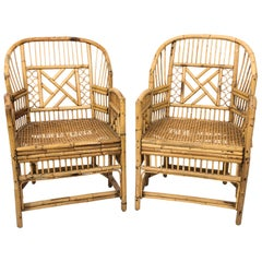 Pair of Chinese Chippendale Style Cane Armchairs
