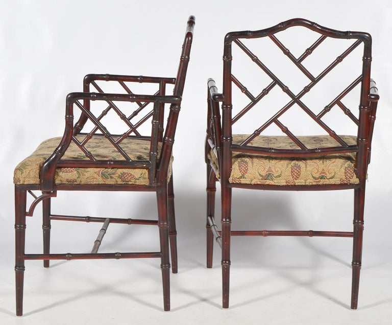 Pair of Chinese Chippendale Style Faux Bamboo Armchairs with Pineapple Fabric In Good Condition In Ft. Lauderdale, FL