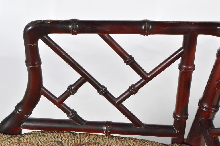 20th Century Pair of Chinese Chippendale Style Faux Bamboo Armchairs with Pineapple Fabric