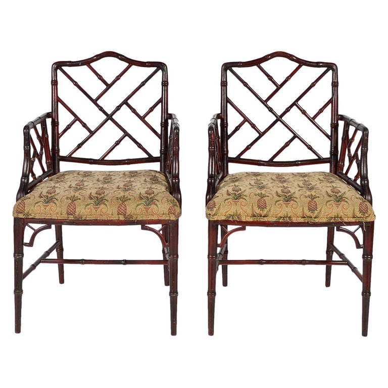 Pair of Chinese Chippendale Style Faux Bamboo Armchairs with Pineapple Fabric