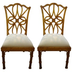 Pair of Chinese Chippendale Style Giltwood Chairs