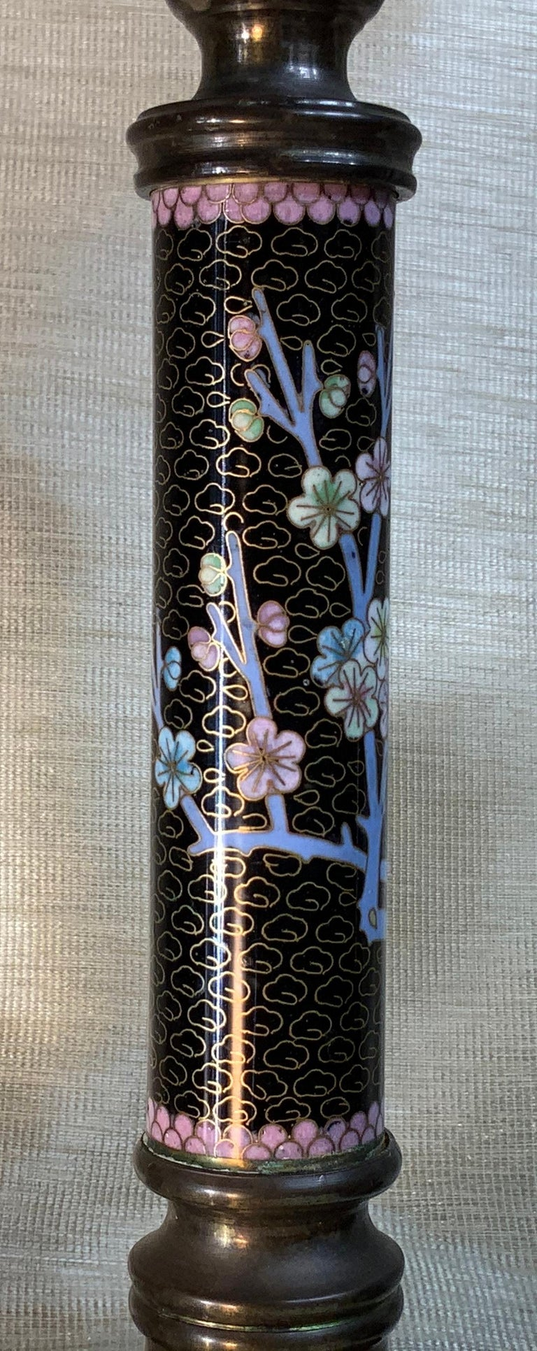 Copper Pair of Chinese Cloisonné Candleholders For Sale