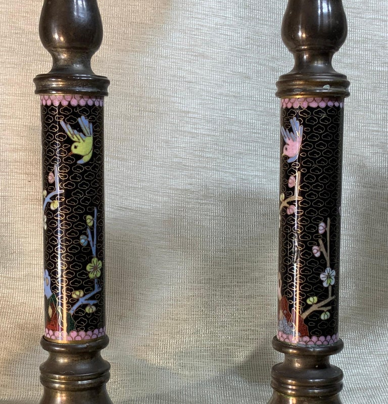 Pair of Chinese Cloisonné Candleholders For Sale 2