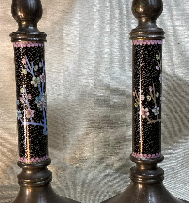 Pair of Chinese Cloisonné Candleholders For Sale 3