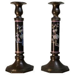 Pair of Chinese Cloisonné Candleholders