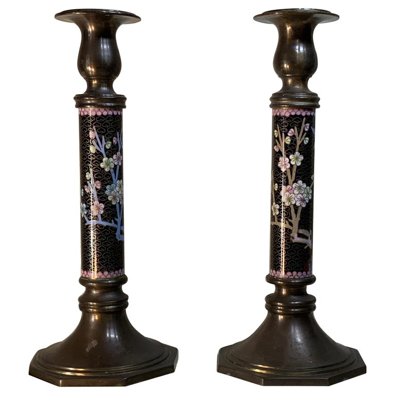 Pair of Chinese Cloisonné Candleholders For Sale