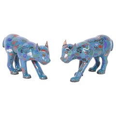 Pair of Chinese Cloisonné Cats