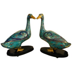 Pair of Chinese Cloisonné Ducks