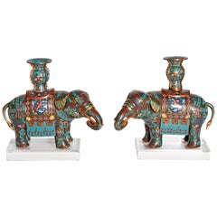 Pair of Chinese Cloisonne Elephants