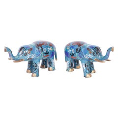 Pair of Chinese Cloisonné Elephants
