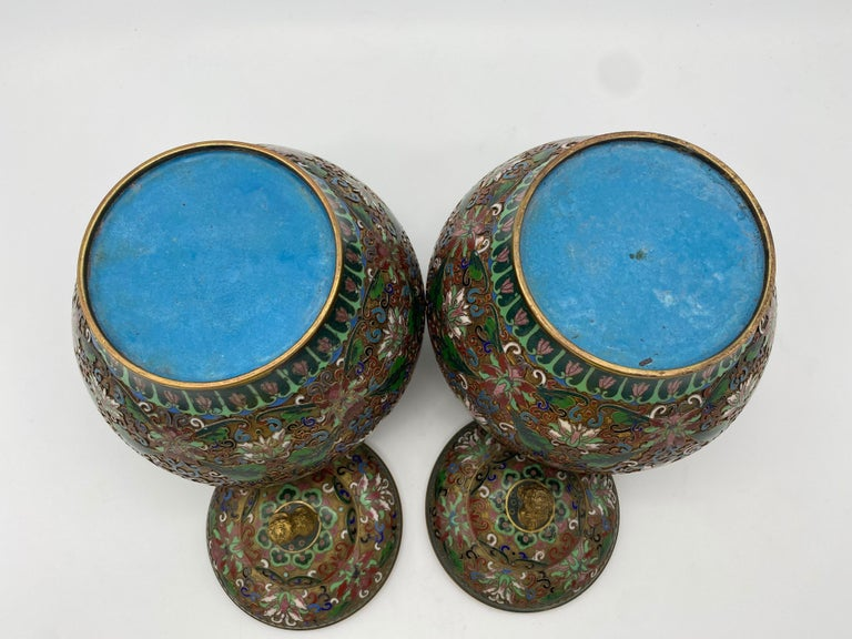 Pair of Chinese Cloisonné Enamel Lidded Open Work Ginger Jars For Sale 4