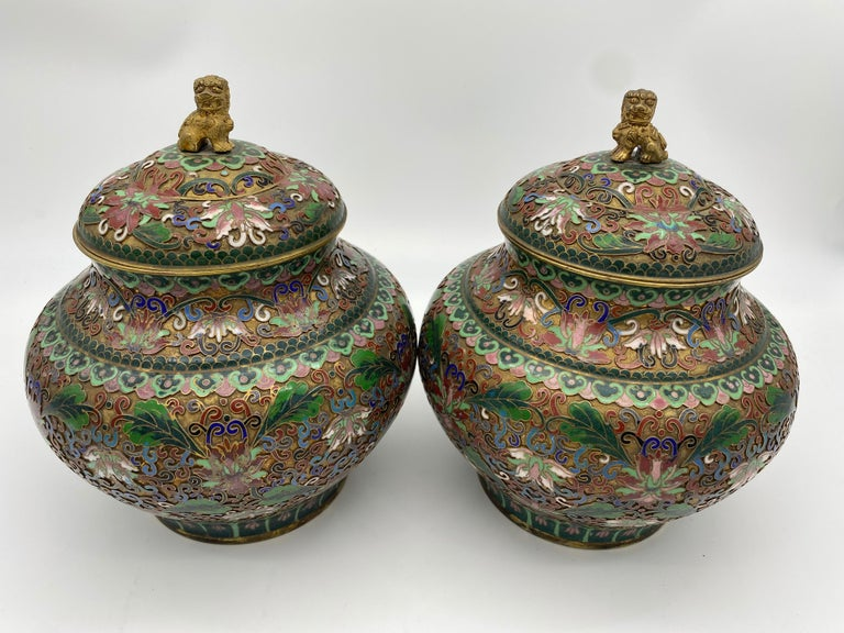 A pair of Chinese cloisonné enamel 8.5