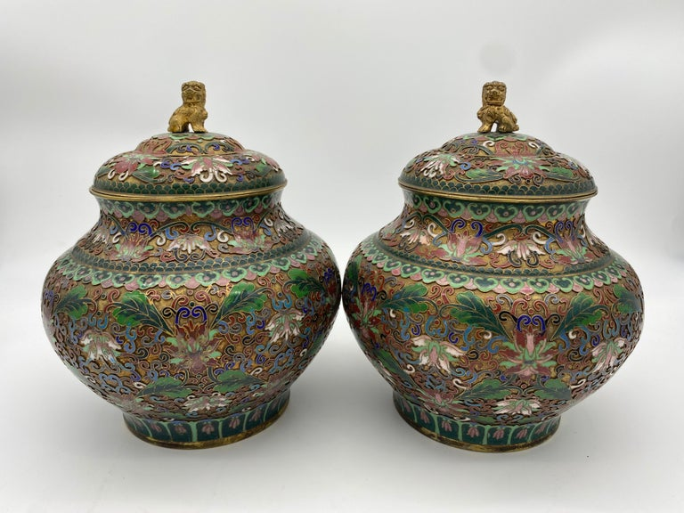 Chinese Export Pair of Chinese Cloisonné Enamel Lidded Open Work Ginger Jars For Sale