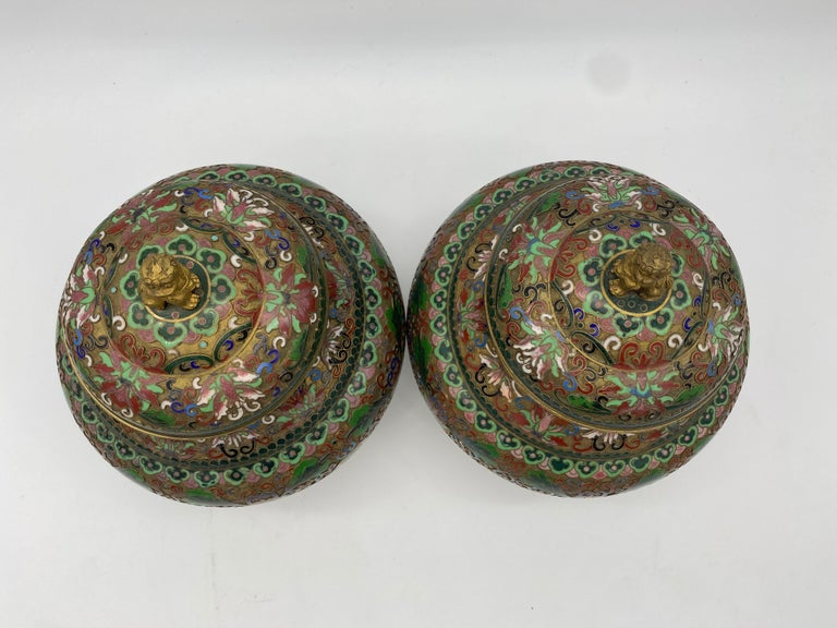 Bronzed Pair of Chinese Cloisonné Enamel Lidded Open Work Ginger Jars For Sale