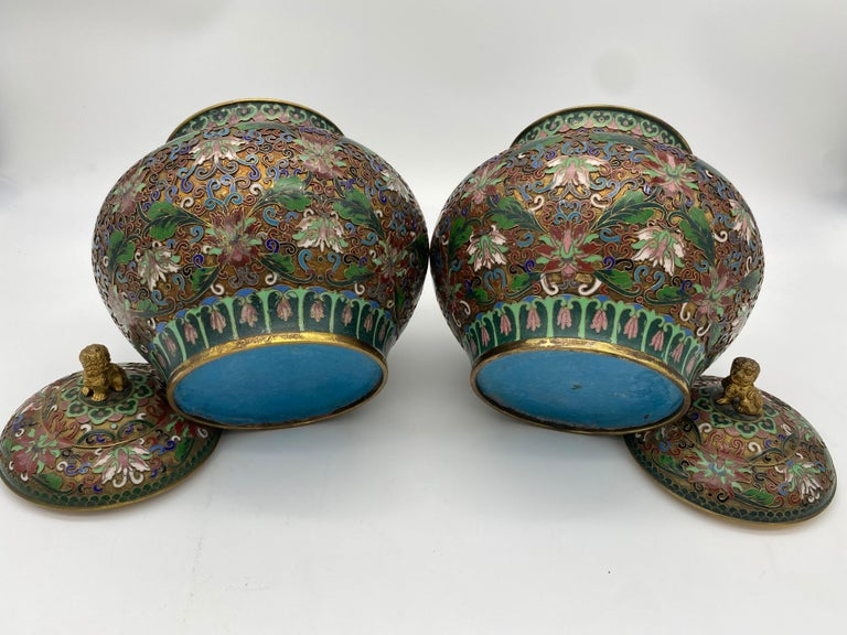 20th Century Pair of Chinese Cloisonné Enamel Lidded Open Work Ginger Jars For Sale