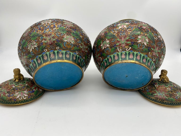 Pair of Chinese Cloisonné Enamel Lidded Open Work Ginger Jars For Sale 1