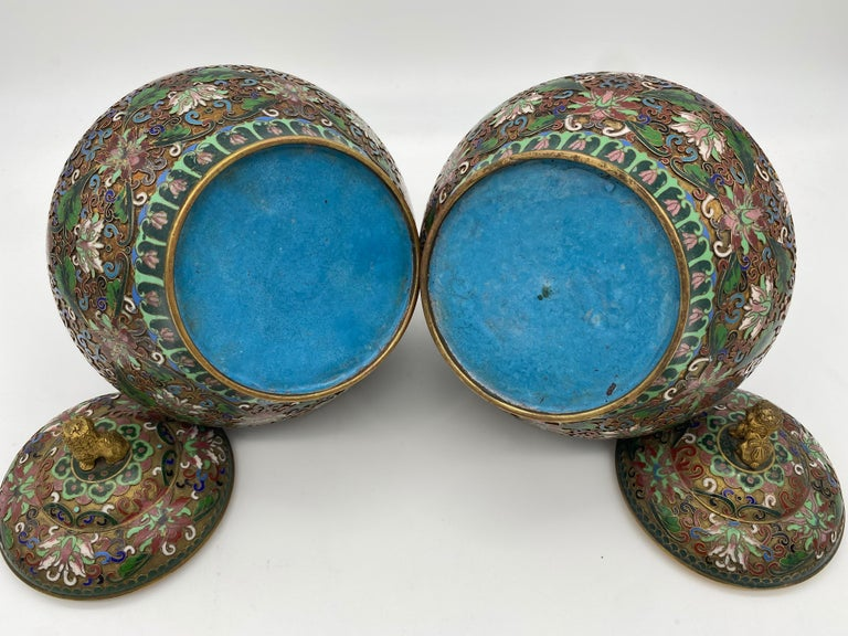Pair of Chinese Cloisonné Enamel Lidded Open Work Ginger Jars For Sale 3
