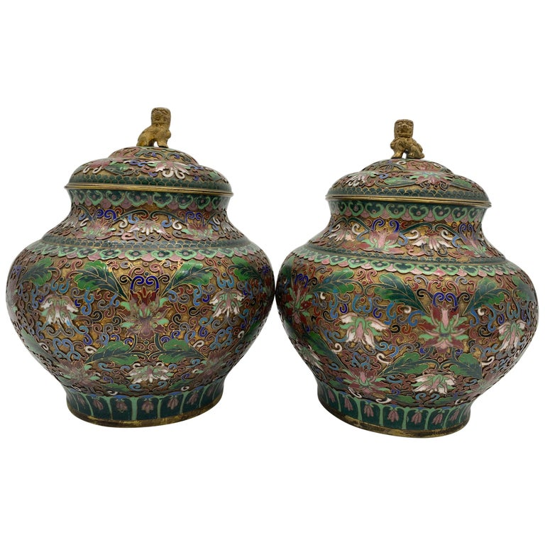 Pair of Chinese Cloisonné Enamel Lidded Open Work Ginger Jars For Sale