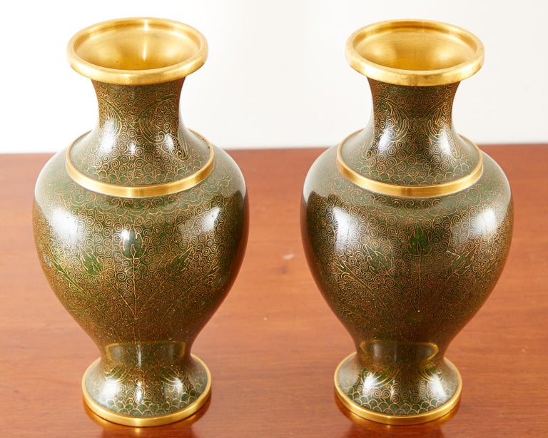 Pair of Chinese Cloisonné Enamel Baluster Vases For Sale 1