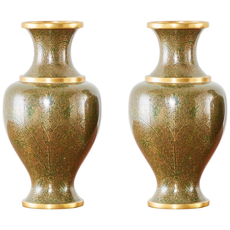 Pair of Chinese Cloisonné Enamel Baluster Vases For Sale