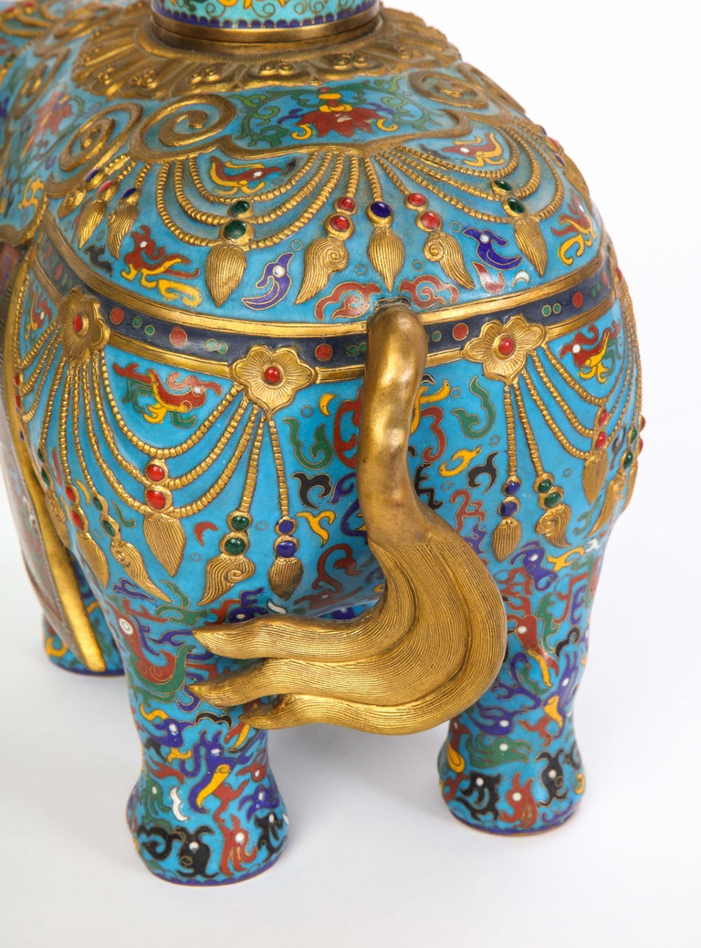 Pair of Chinese Cloisonne Enamel Elephant-Form Pricket Sticks, 20th Century For Sale 11
