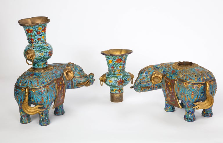 Pair of Chinese Cloisonne Enamel Elephant-Form Pricket Sticks, 20th Century For Sale 13