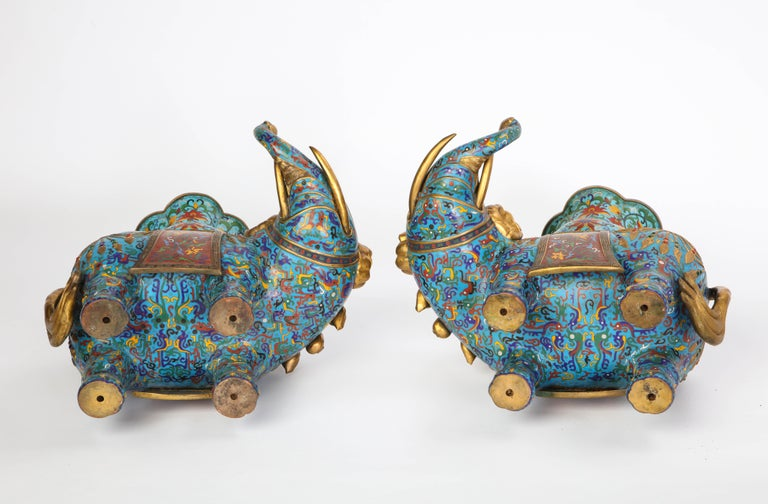 Pair of Chinese Cloisonne Enamel Elephant-Form Pricket Sticks, 20th Century For Sale 17