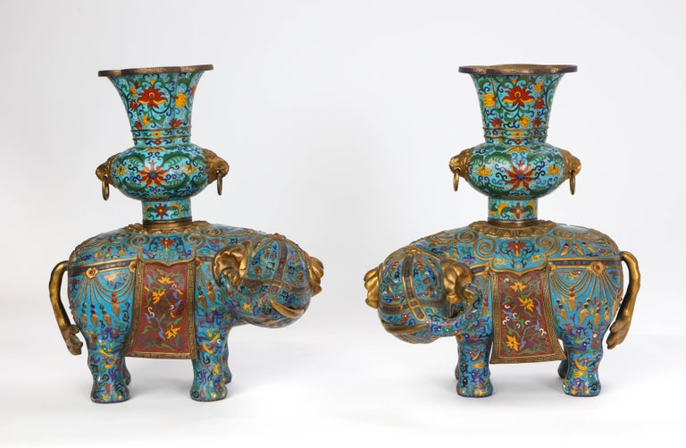 Pair of Chinese Cloisonne Enamel Elephant-Form Pricket Sticks, 20th Century In Good Condition For Sale In New York, NY